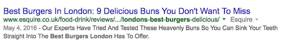 Image of a well optimised title tag taken from Google Serps