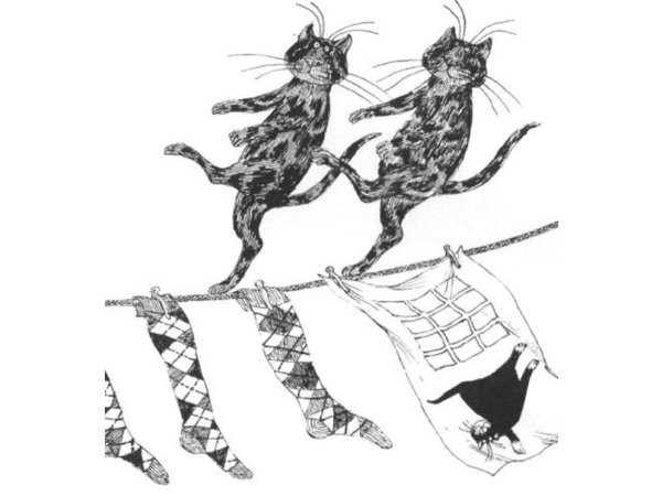 edward gorey, cats dancing on the rope