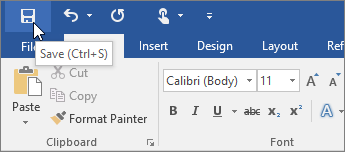 The Save icon is displayed in the Quick Access Toolbar - www.office.com/setup