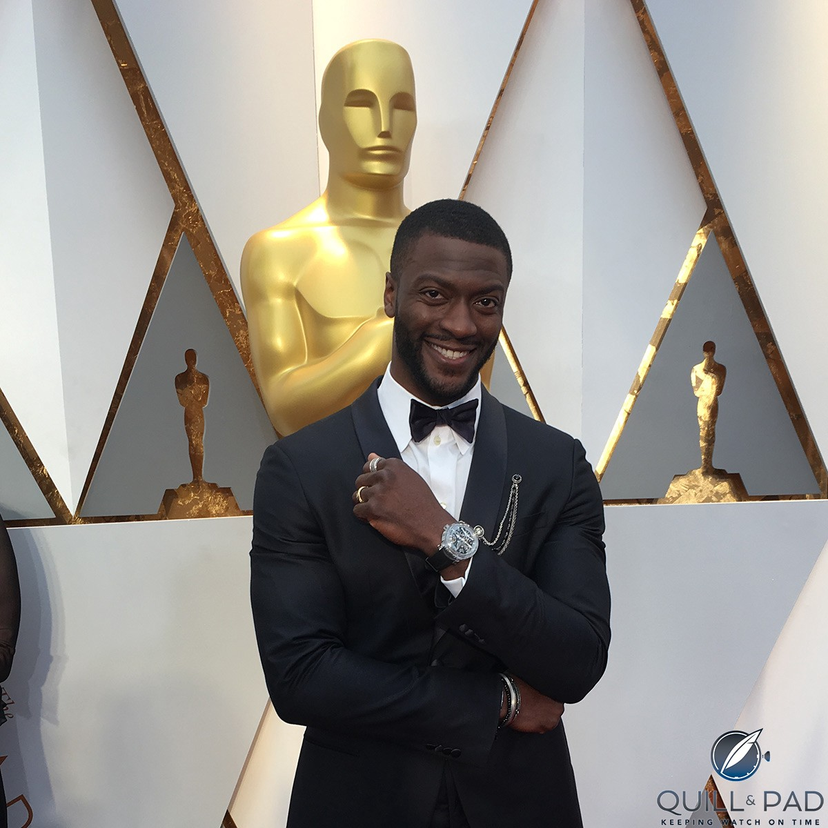 Aldus Hodge wearing a Greubel Forsey Double Tourbillon 30° Technique Sapphire at the 2017 Academy Awards ceremony