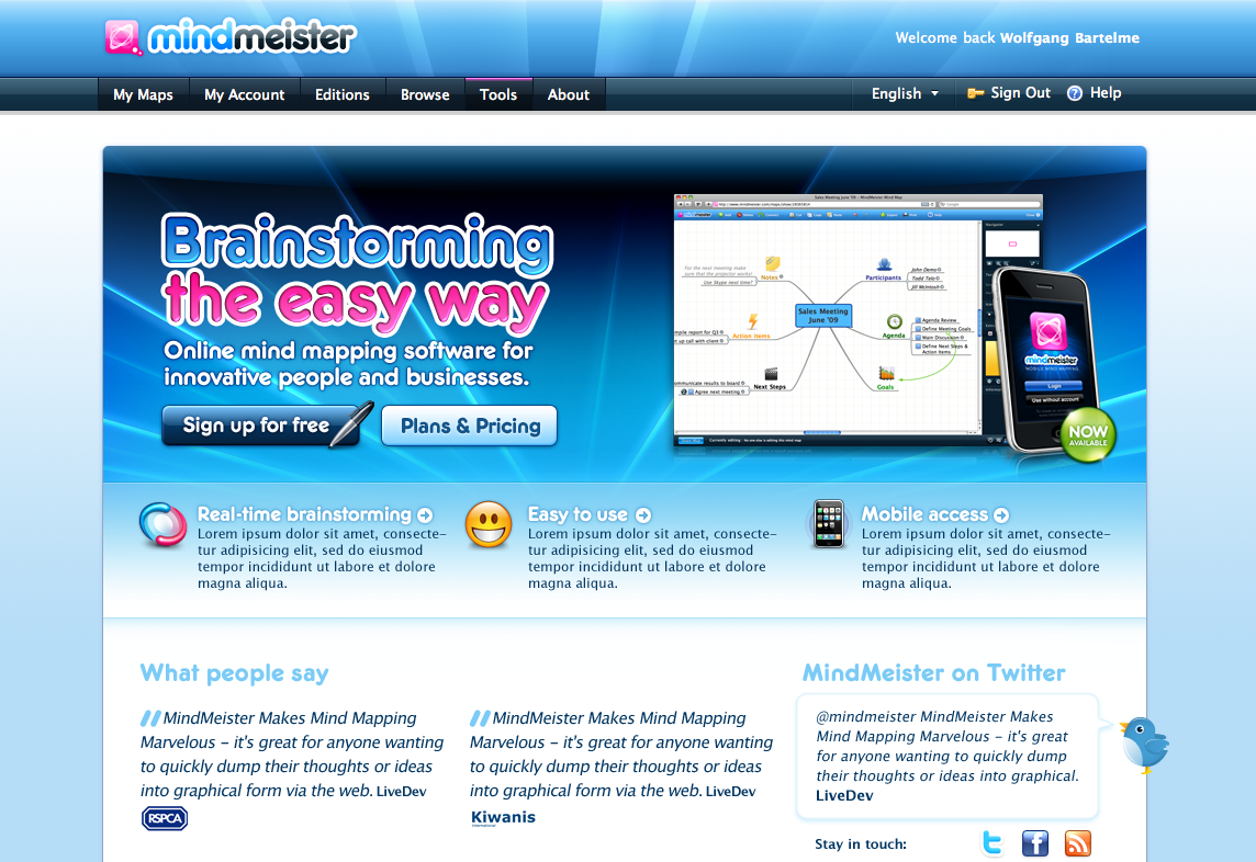 MindMeister homepage from 2009: The height of the glossy era