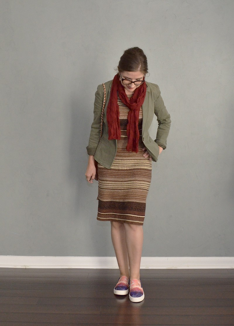 dress, blazer ans slip-ons outfit