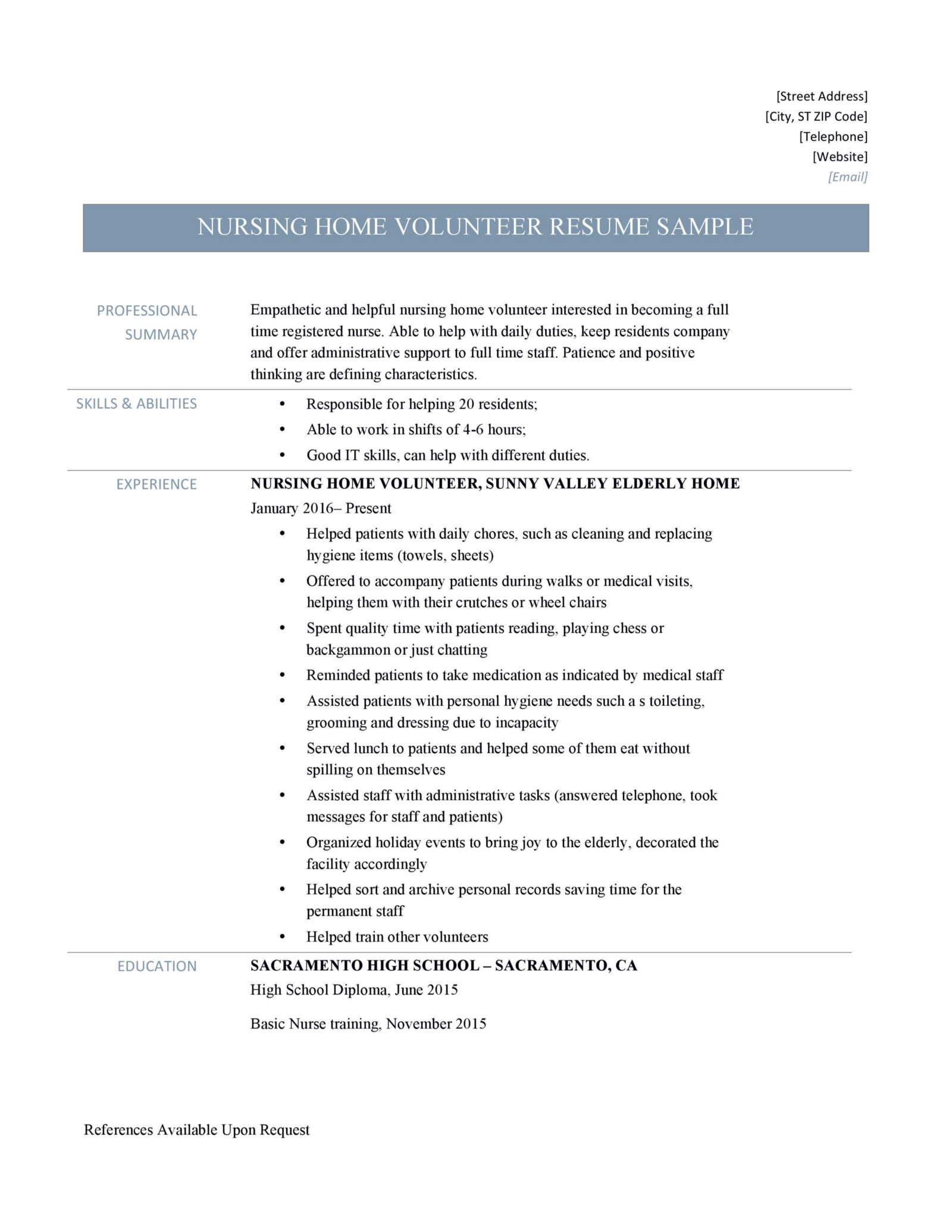 Nursing Home Volunteer Resume Samples and Job Description