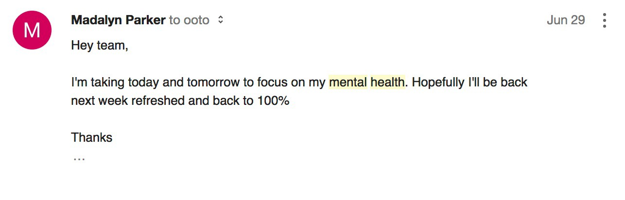 Itu0027s 2017 And Mental Health Is Still An Issue In The Workplace.  Sick Leave Email