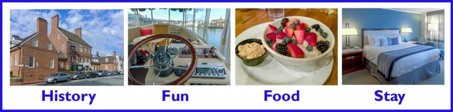 Pictures of Annapolis historic home, boat steering wheel, breakfast food and hotel bed