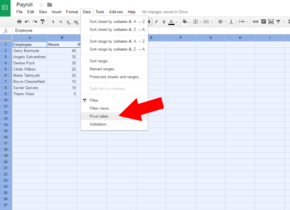 pivot table in google sheets