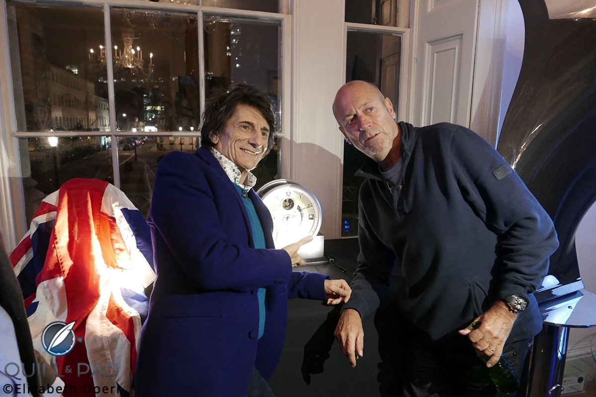 Ronnie Wood and the collector who purchased the first Bremont B1 Marine Clock pose with it during the brand's Townhouse event