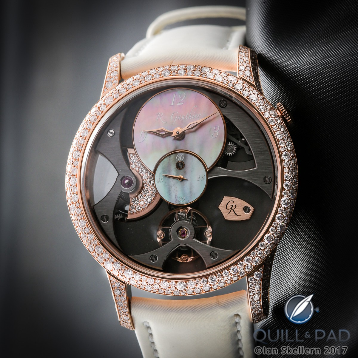 Romain Gauthier Insight Micro-Rotor with diamond-set bezel and rotor plus mother-of-pearl dial