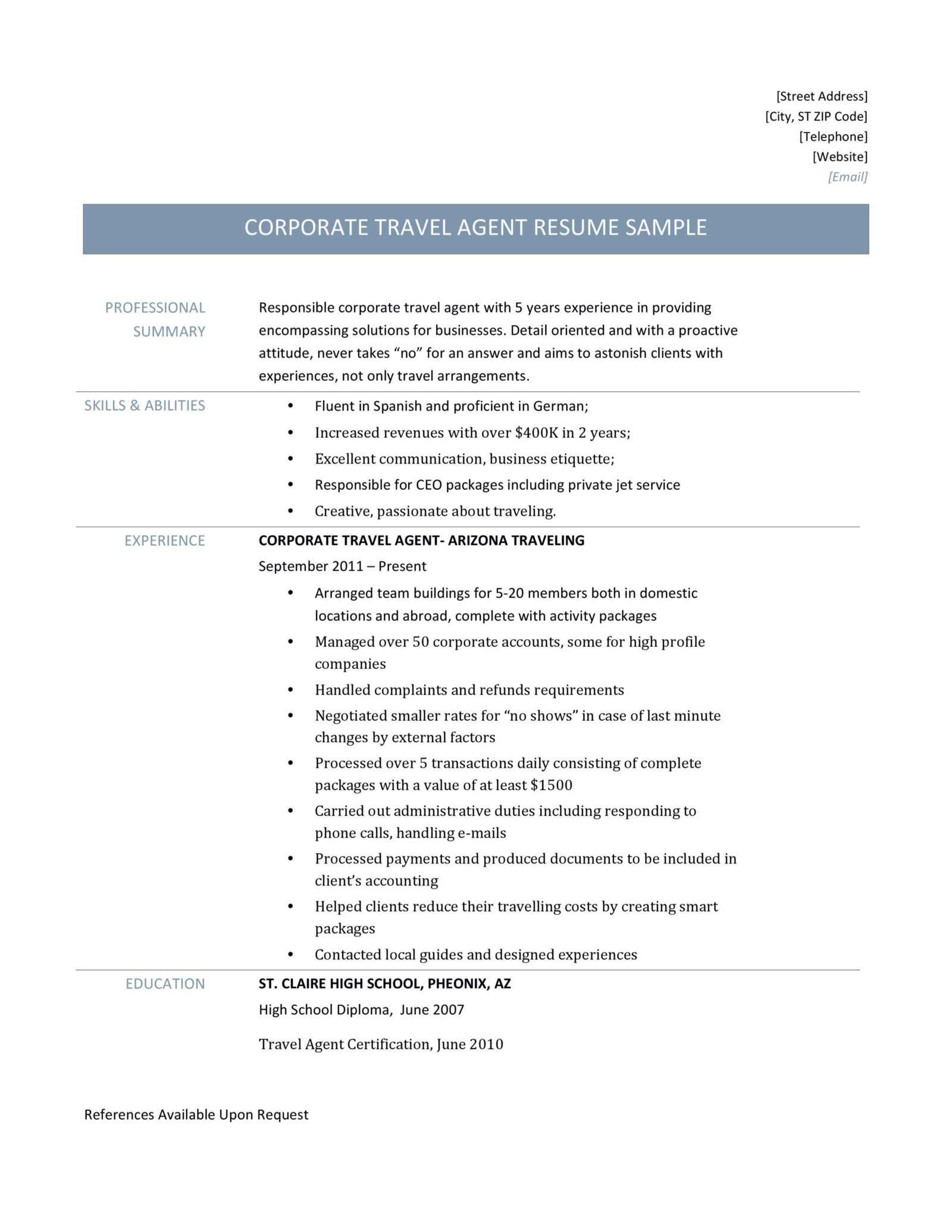 Corporate Travel Agency Resume Template