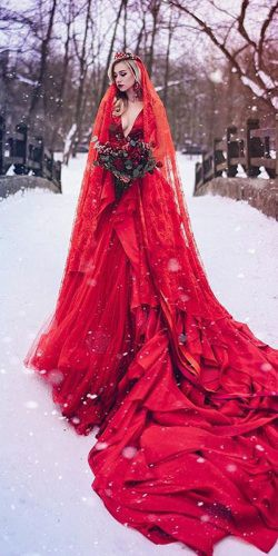0b7d4b398f6 gothic wedding dresses red a line deep v neckline with veil malyarova olga