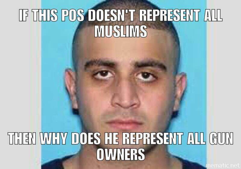 If Omar Mateen doesn't represent all Muslims, why should he represent all gun owners?