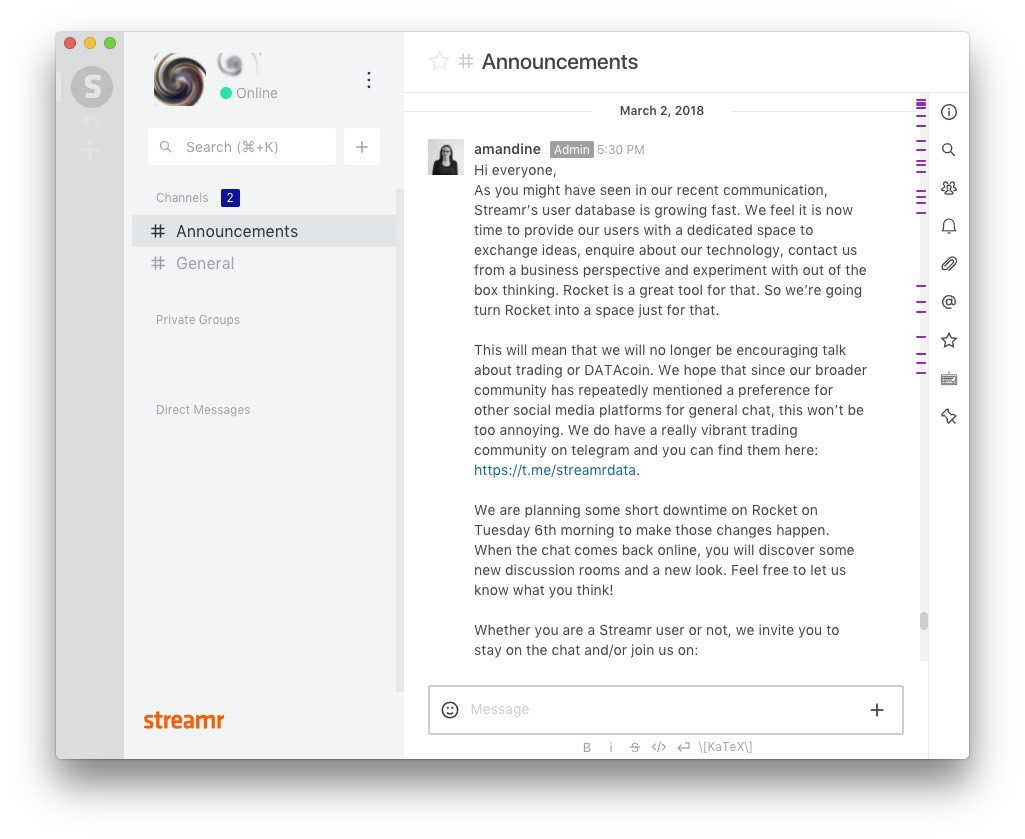 Streamr's official Rocket.Chat server
