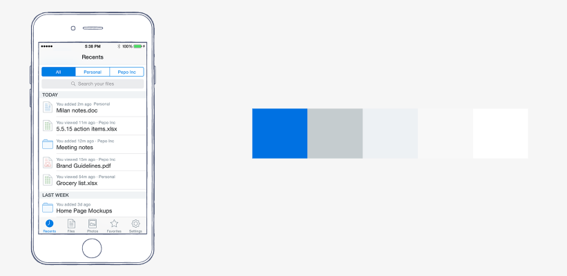 A Layout With Combination Of White And Grey Splashed Accents Blue In Dropbox Color Scheme