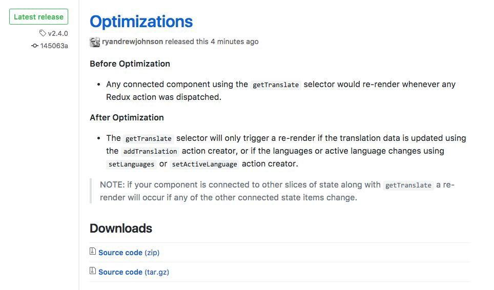 💥 Just released some optimizations to react-localize-redux. mmmmjoy 💥 #reactjs #Redux