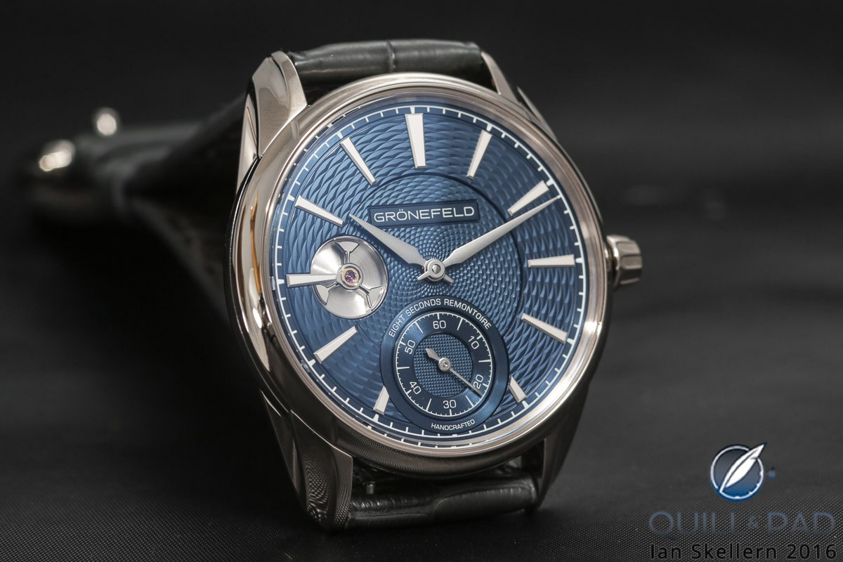 Gronefeld Remontoire 1941 with blue guilloche dial
