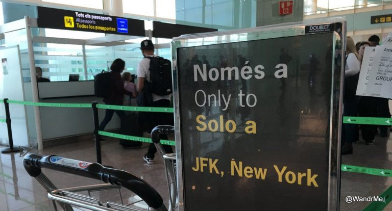 A dedicated passport screening area in Barcelona for our flight to JFK
