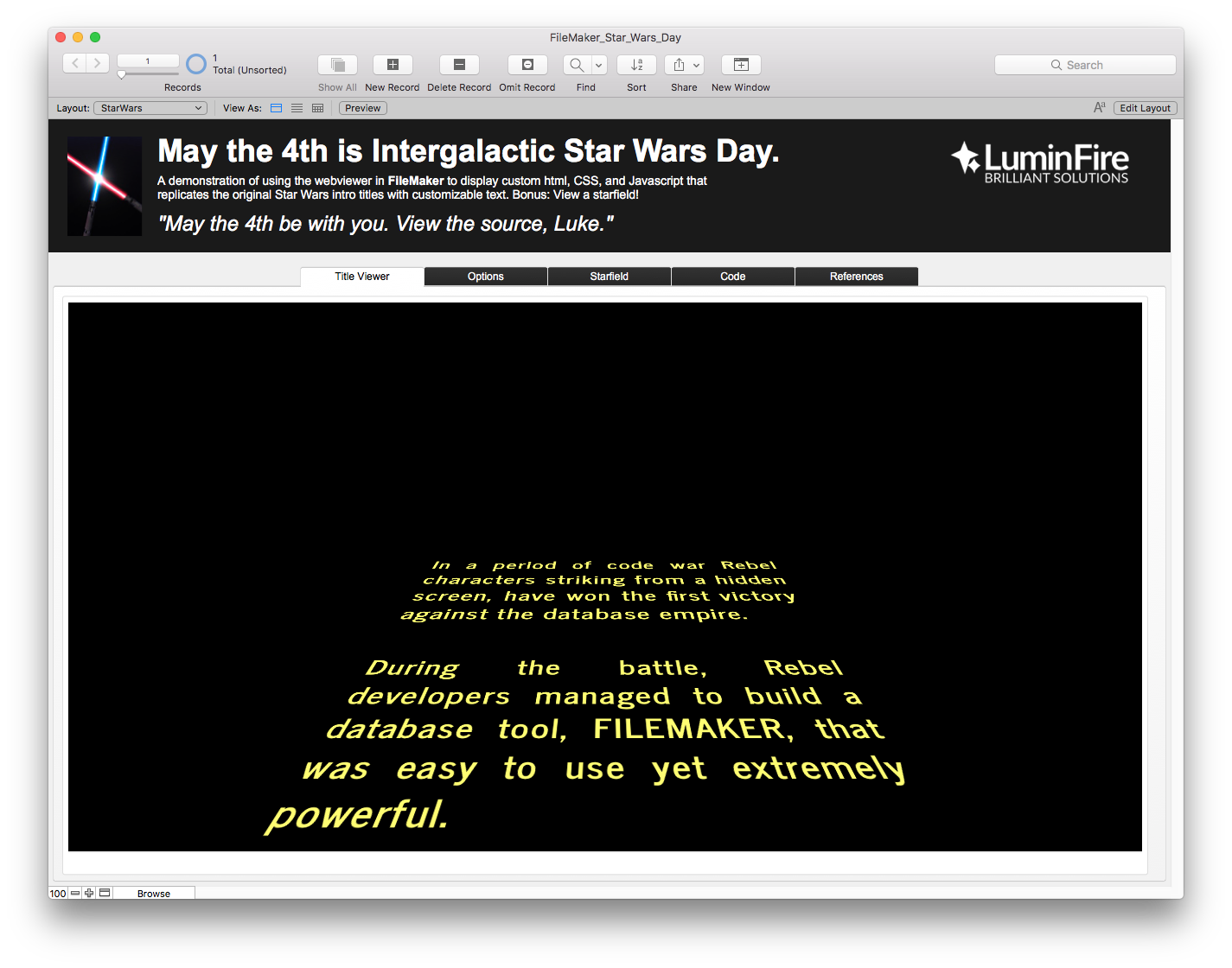Intergalactic Star Wars Day and FileMaker