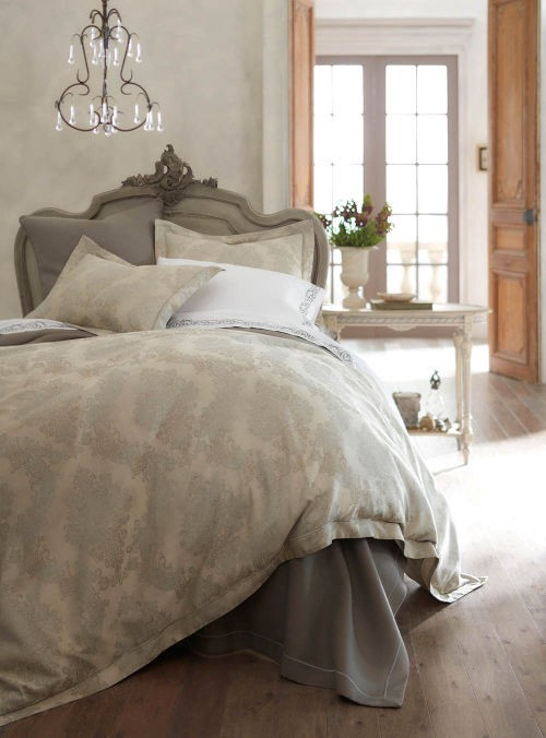 Peacock Alley Pompei bed linens reminiscent of flocked wallpaper is a 100% Egyptian cotton jacquard.