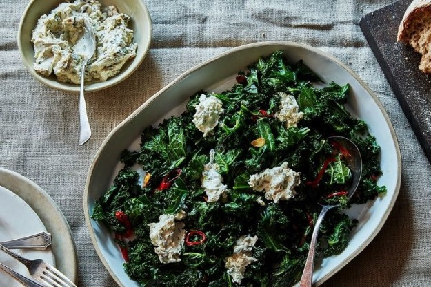 Burnt Green Onion Dip With Curly Kale