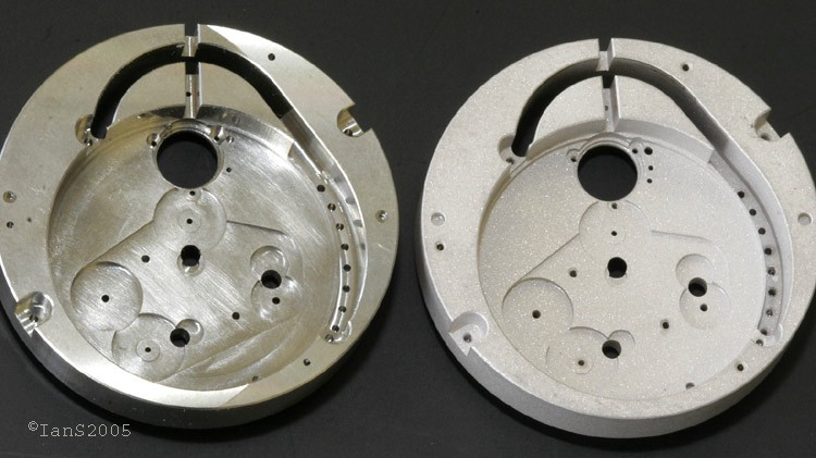 Before and after finishing of the ARCAP baseplate for the Harry-Winston Opus V by Urwerk