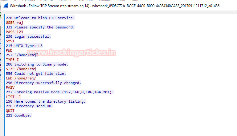 Similarly We Had Captured TCP Packet Through Wireshark For Sniffing FTP Credential From Given Image You Can Observe User Raj And Password 123 Login