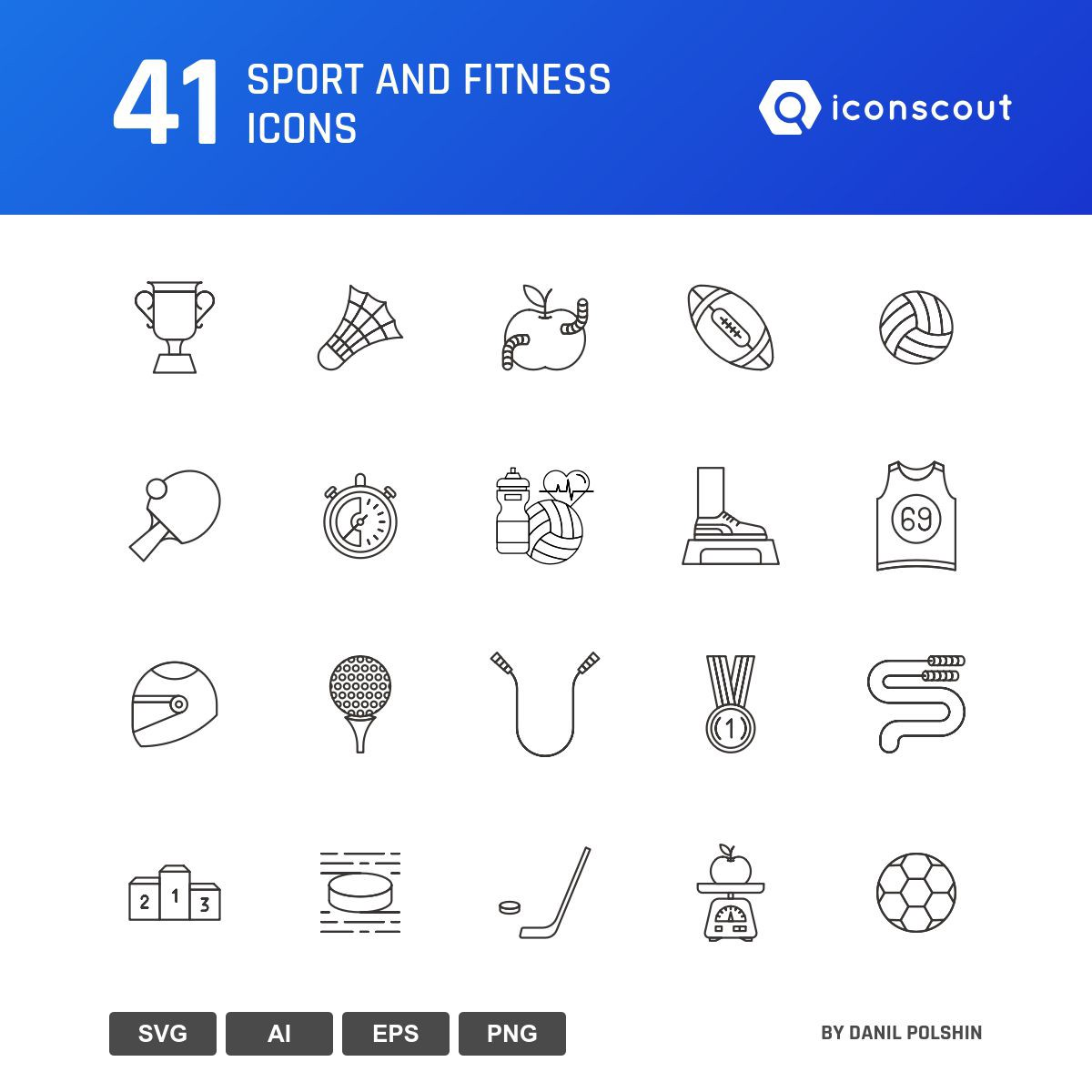 Sport And Fitness icons by Danil Polshin
