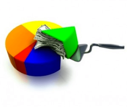 Graphic displaying the revenue in a pie chart
