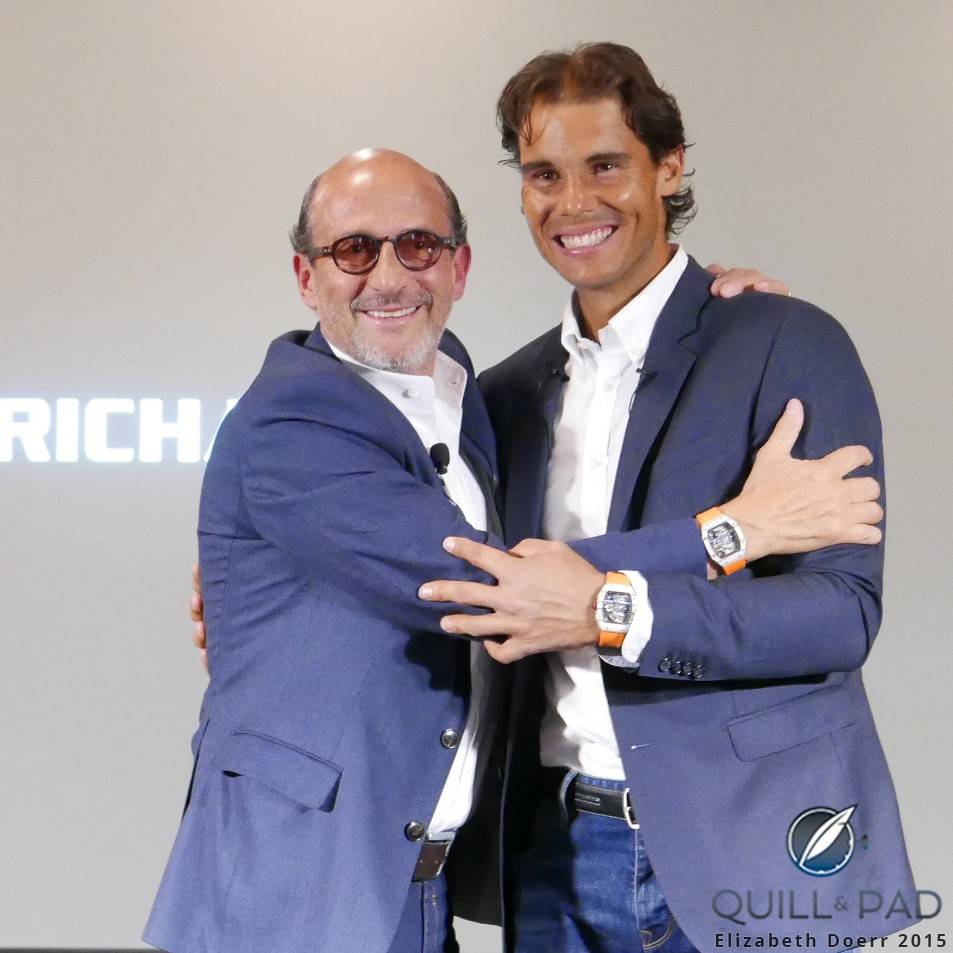 Richard Mille (left) and Rafael Nadal at the Paris press conference announcing the RM 27-02