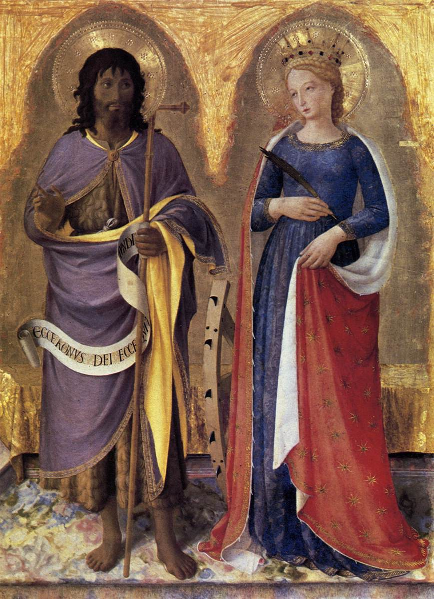 Fra Angelico, Righthand Panel of Perugia Altarpiece Triptych: St. John the Baptist and St. Catherine of Alexandria, 1447-47, tempera and gold on panel, 95 x 73 cm, Galleria Nazionale dell'Umbria, Perugia, Italy.