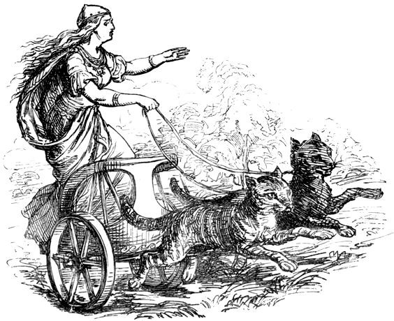 Freyja riding with her cats