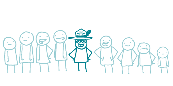 Nine doodles stand in a line. The doodle at the center of the line is darker in color than the others, has its hands on its hips, and wears sunglasses and a hat with a feather. The four doodles on either side of the middle doodle are faded in color and do not have accessories.