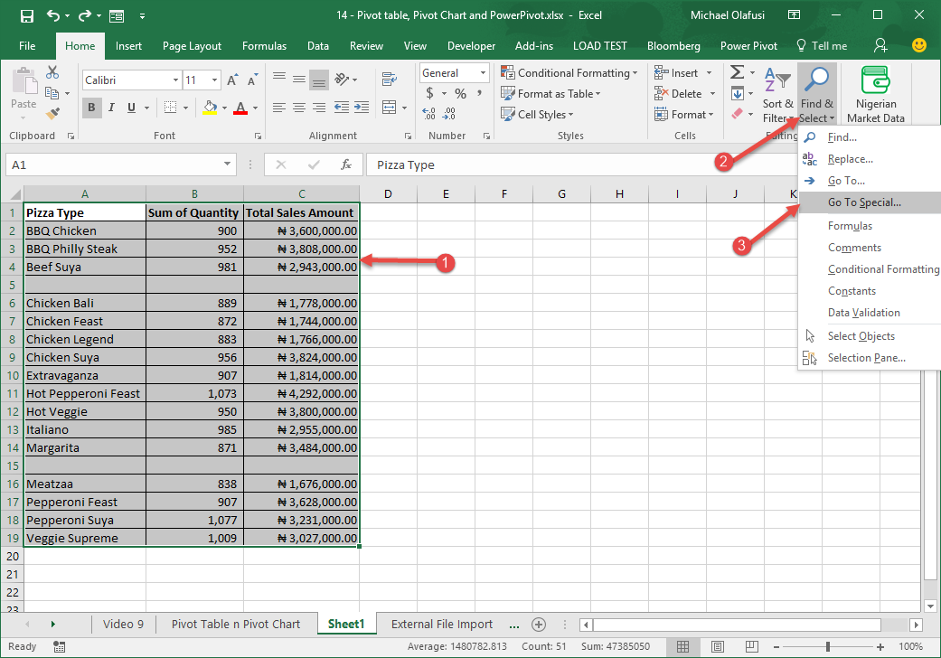 how to select delete or replace all blank records in excel