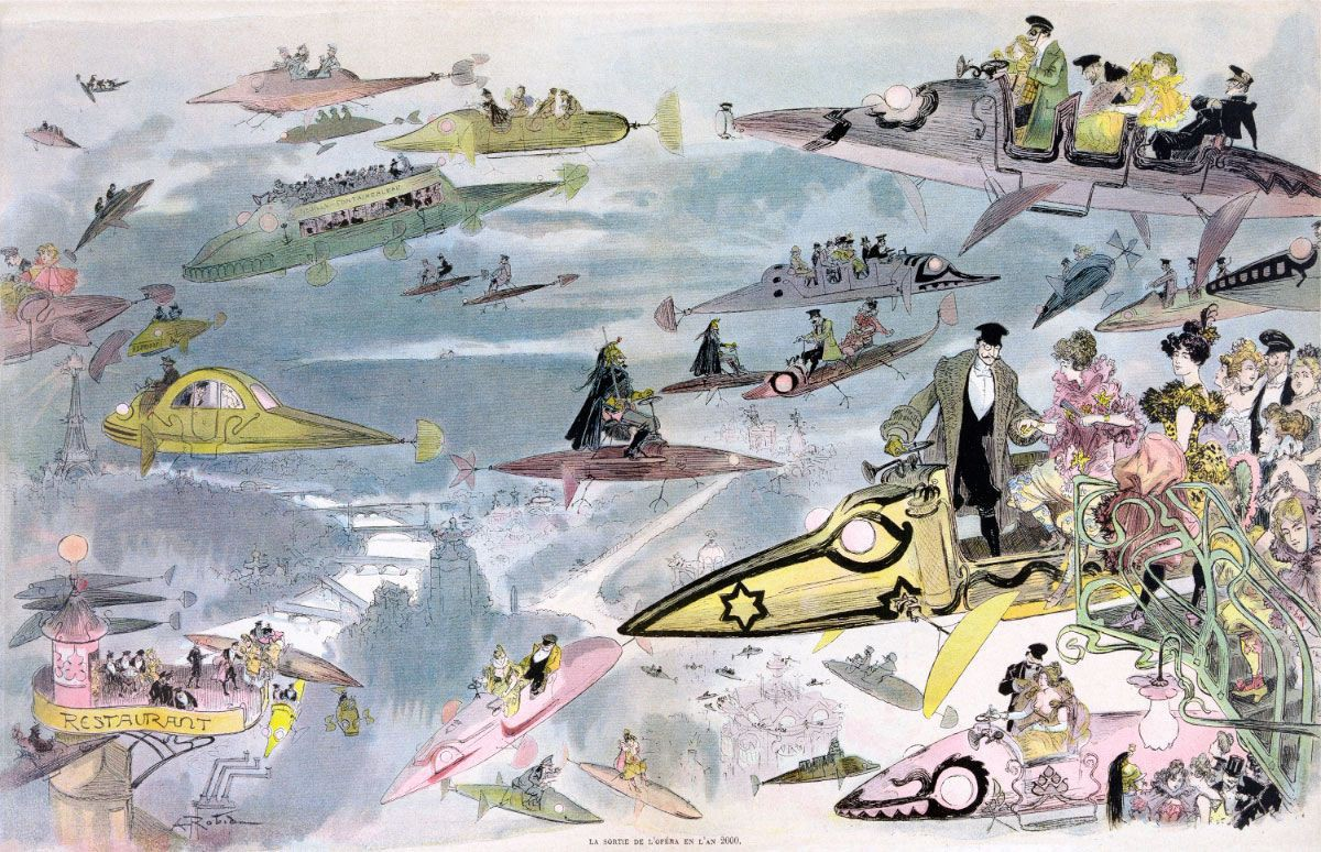 "The skies are full in Albert Robida's ""Leaving the Opera in the Year 2000,"" published in 1882."