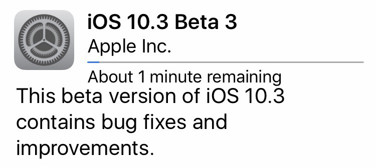 A screen capture of iOS 10.3 beta three cropped featured announcement
