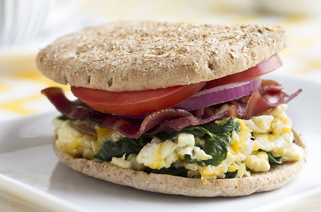 turkey bacon egg white spinach breakfast sandwich