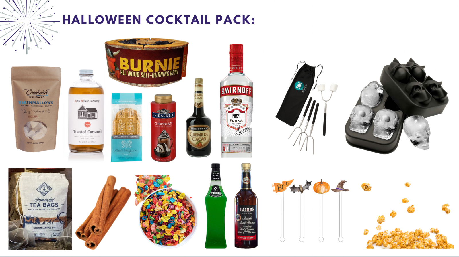Halloween cocktail display for fall team building party—Book with Eva and Spark by Designs