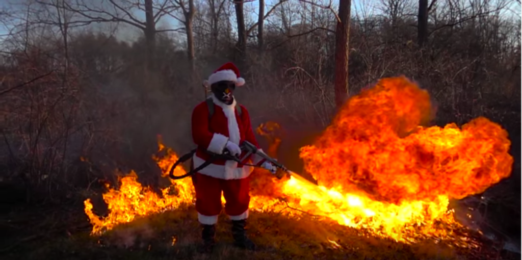 """""""Santa and the X15 Flamethrower."""" Screengrab from Xmatter promotional video."""