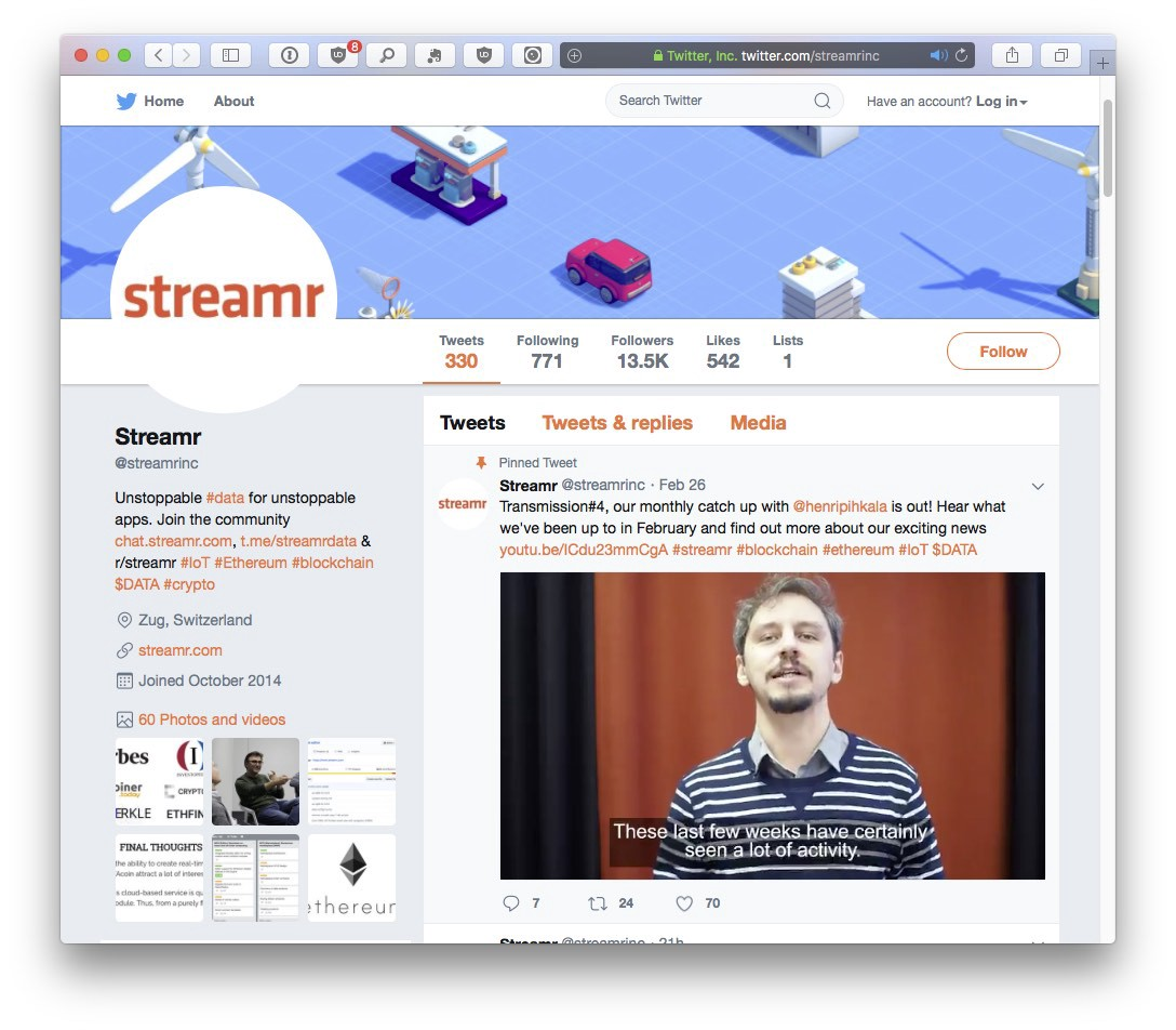 Streamr official Twitter account