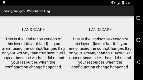 Android - configChanges - Without the Flag - Landscape