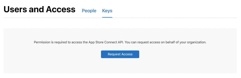Requesting access to the App Store Connect API