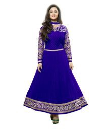 Royal N Rich Semi Stitched Blue Dress Material