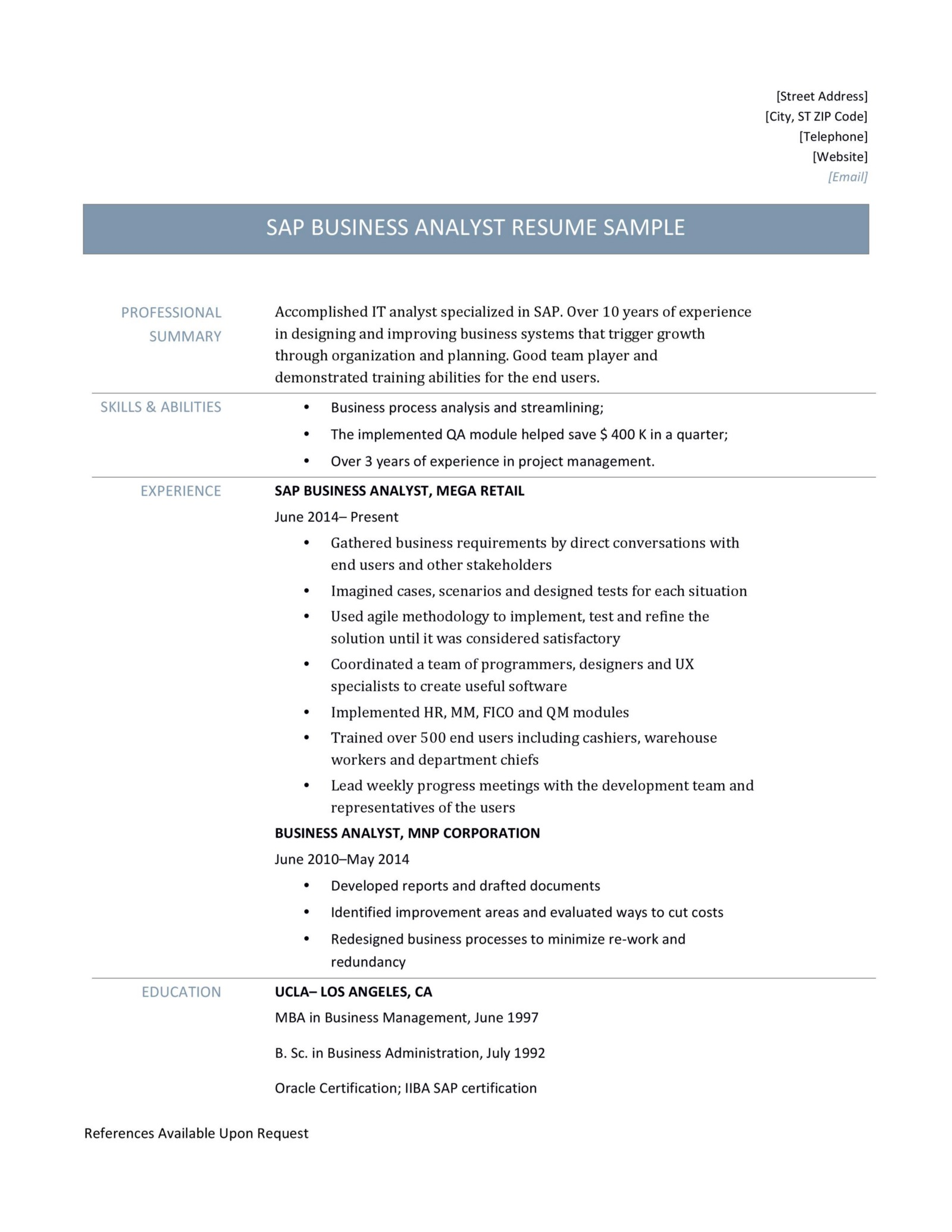 SAP Analyst Resume Templates And Samples Online Builders