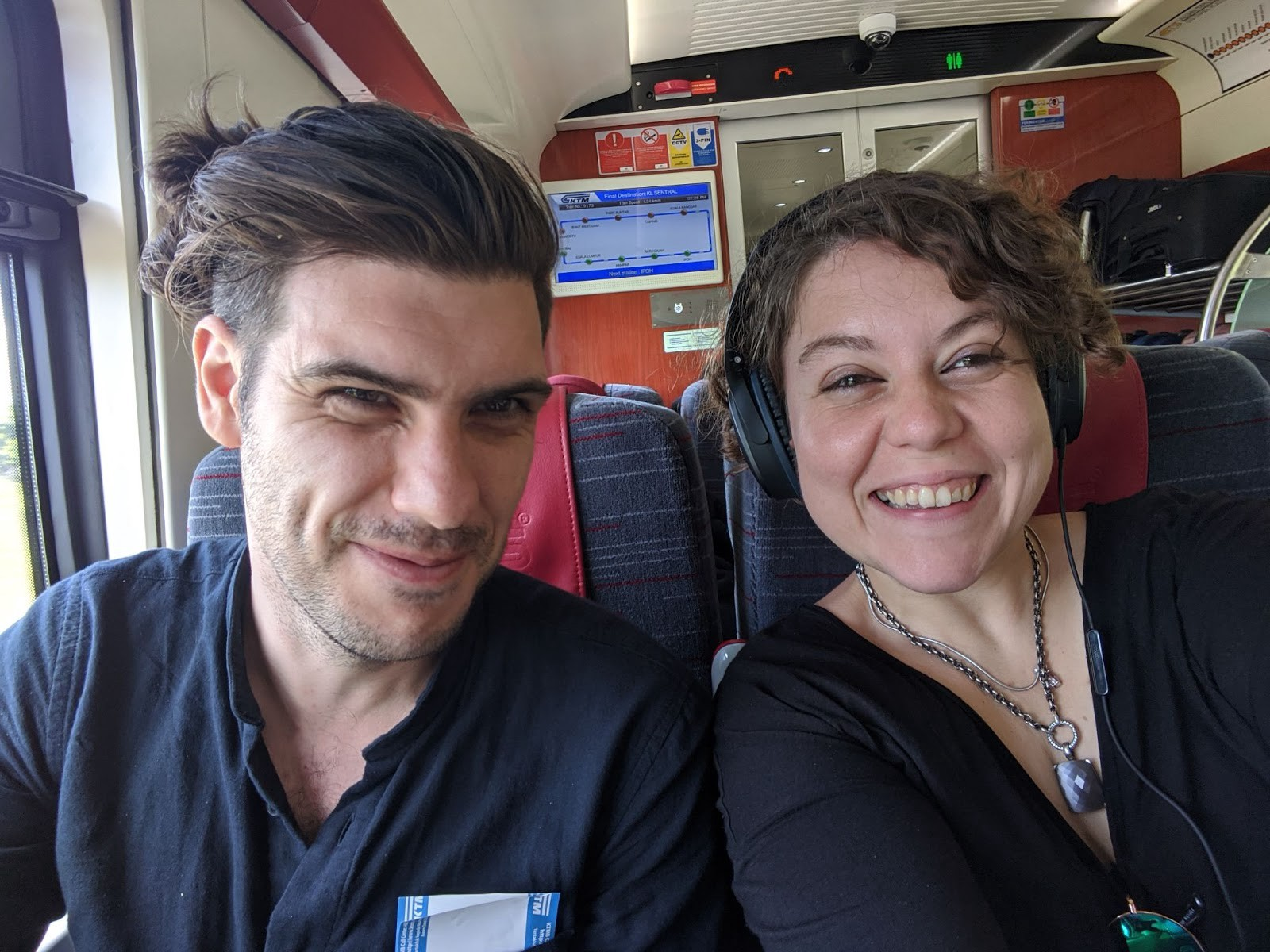 Lauren and her partner Jesse on a train from Kuala Lumpur to Butterworth, Malaysia, Feb 2020