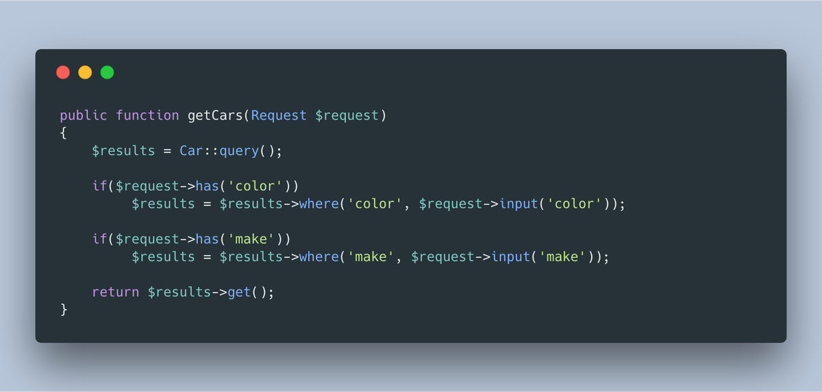 Code screenshot of building a query based on conditionals