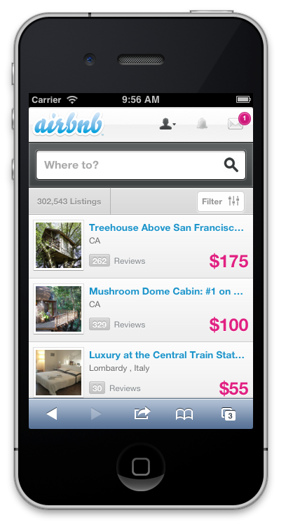 Airbnb Mobile website screenshot