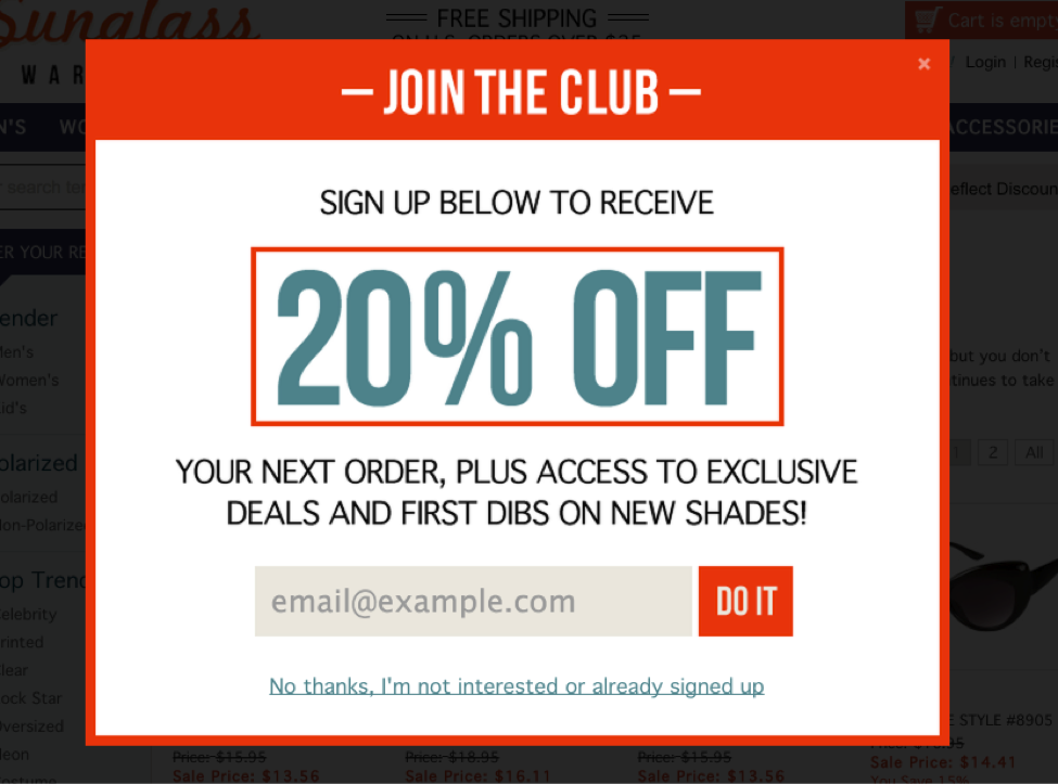 Example of compelling CTA on email signup form