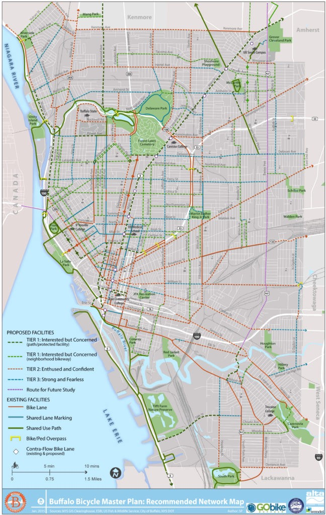 """Buffalo Bicycle Facilities Network Map illustrating the designated """"strong and fearless"""", """"enthused and confident"""" and """"interested by concerned"""" bicycle routes."""