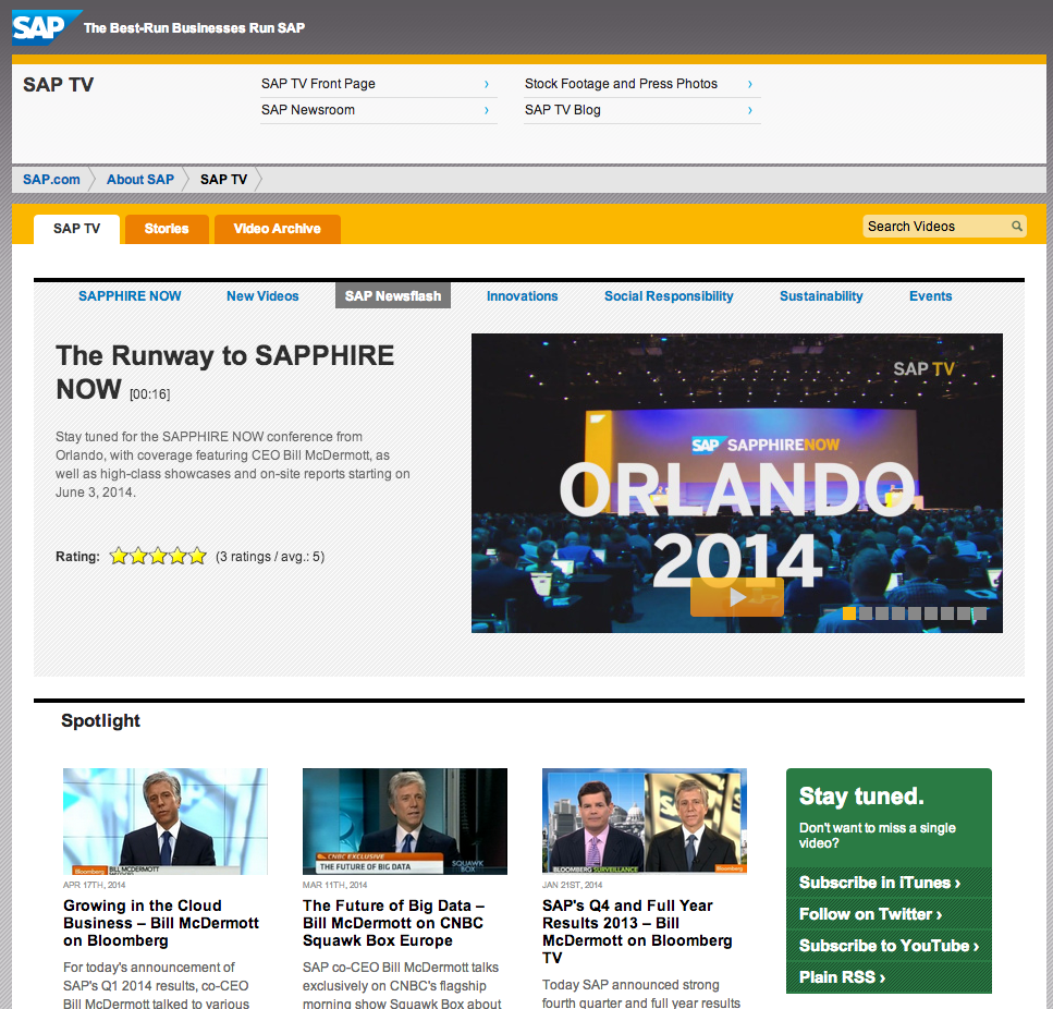 SAP uses video prominently on a dedicated section of their website with SAP TV
