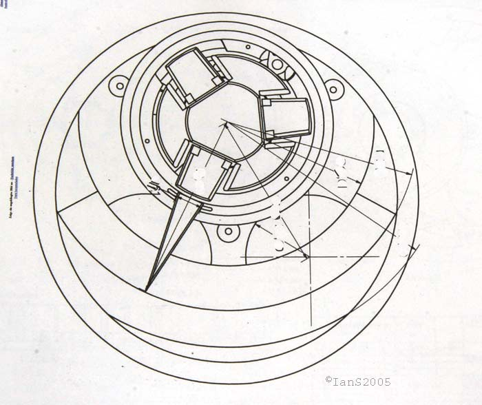 Technical drawing of the dial of the Harry Winston Opus V by Urwerk