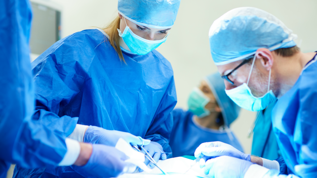 Surgeon operating on a patient on locums assignemt
